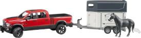 Bruder RAM 2500 Power Wagon mit Pferdeanhänger und 1 Pferd, ab 3 Jahren, Maße: 74,2 x 17 x 18,5 cm, Kunststoff