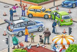 Ravensburger 075782  Puzzle Mit Blaulicht unterwegs 2 x 12 Teile