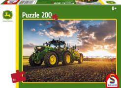 Schmidt Puzzle 56145 John Deere, Traktor 6150R mit Feldspritze, 200 Teile, ab 8 Jahre