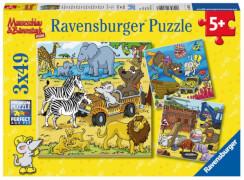 Ravensburger 80427 Puzzle: Abenteuer mit Mauseschlau und Bärenstark, 3x49 Teile