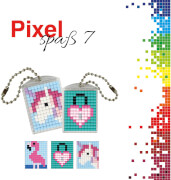 Pixel Spaß 7 Medaillon Flamingo, Herzschloß, Einhorn